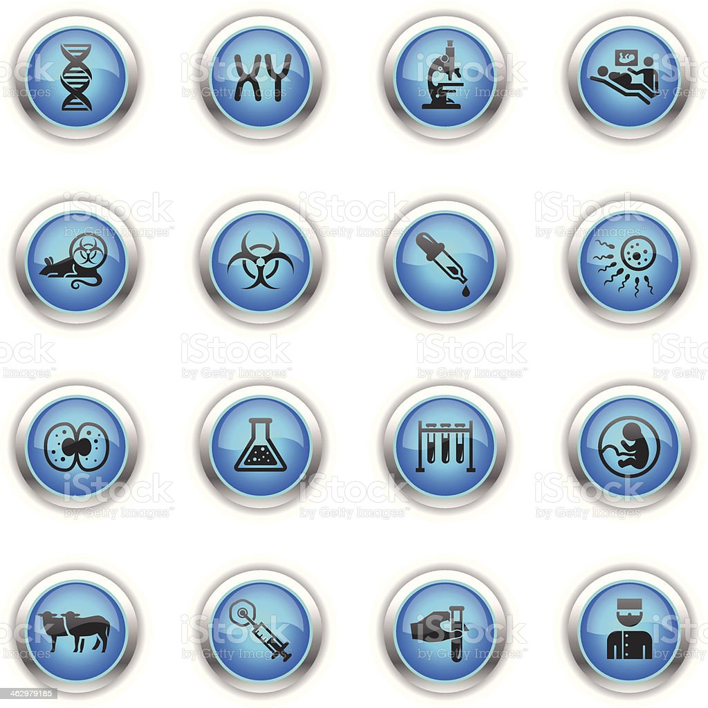 Blue Icons - Genetics & Cloning royalty-free stock vector art