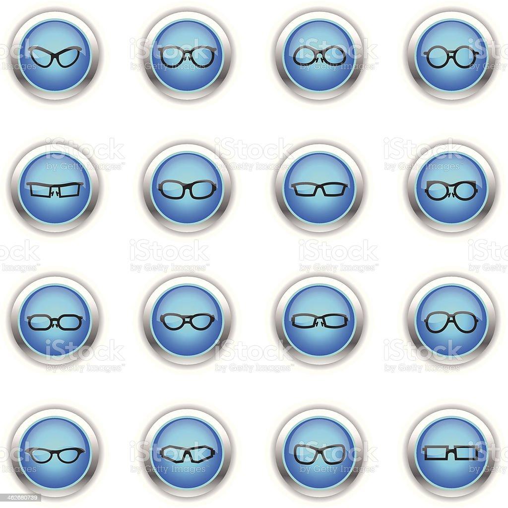 Blue Icons - Glasses vector art illustration