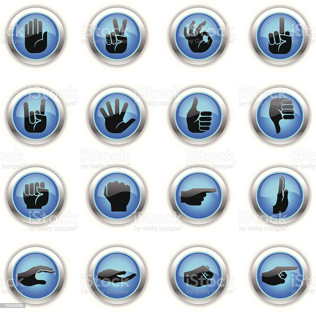 Blue Icons - Hands royalty-free stock vector art