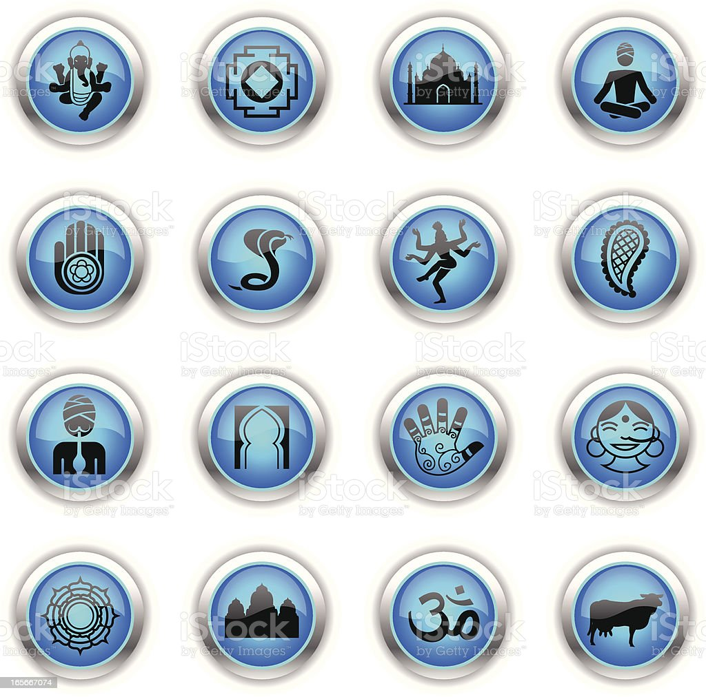 Blue Icons - India vector art illustration