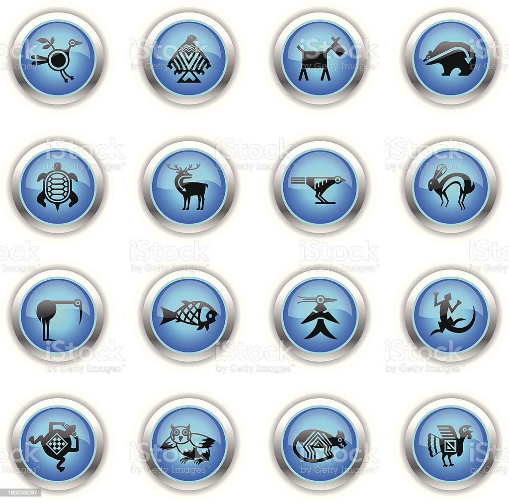 Blue Icons - Indian Tribal Animals vector art illustration