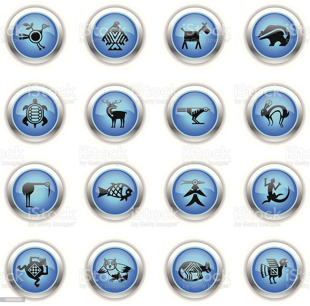 Blue Icons - Indian Tribal Animals vector art illustration