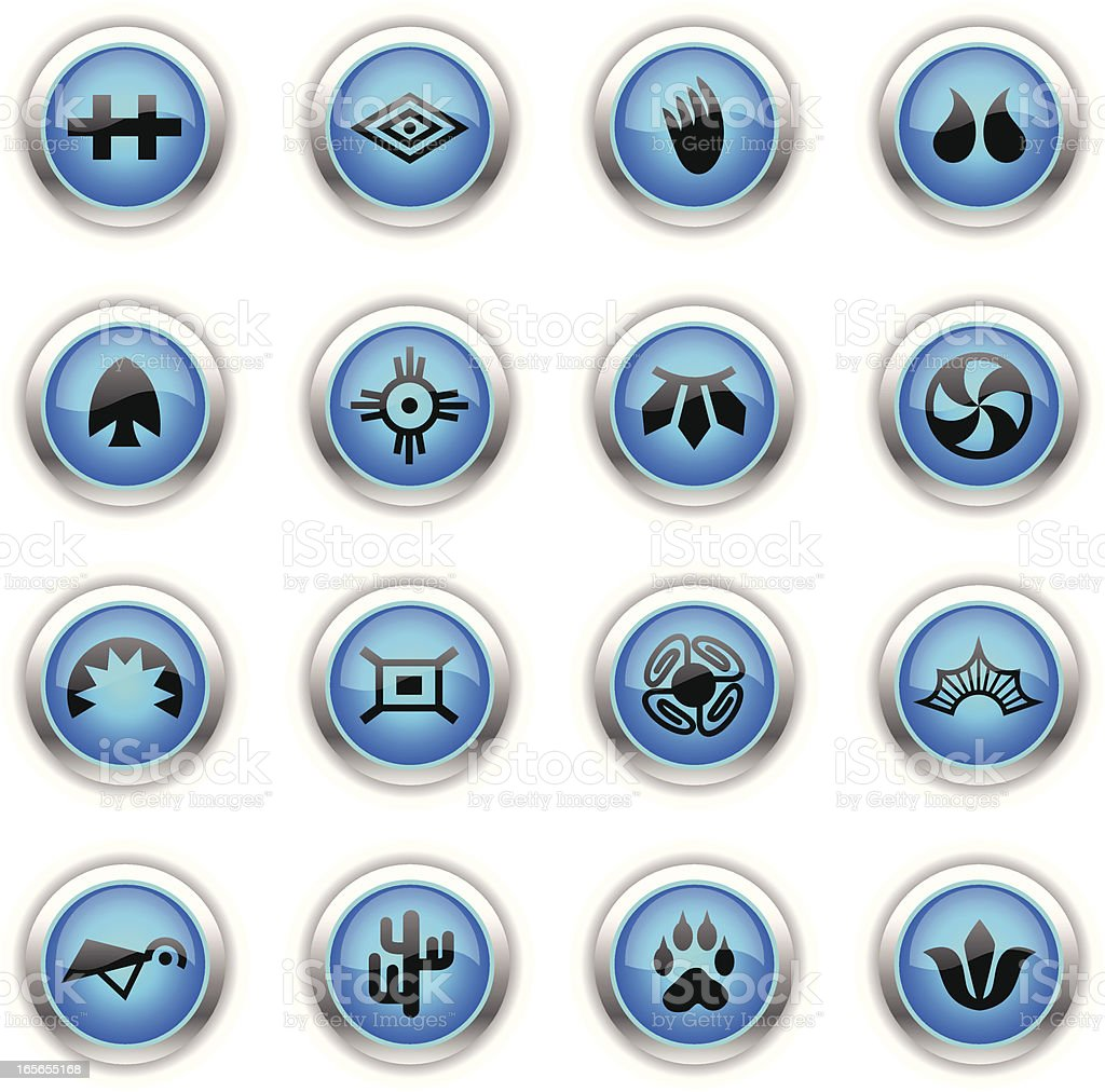 Blue Icons -  Indian Tribal vector art illustration