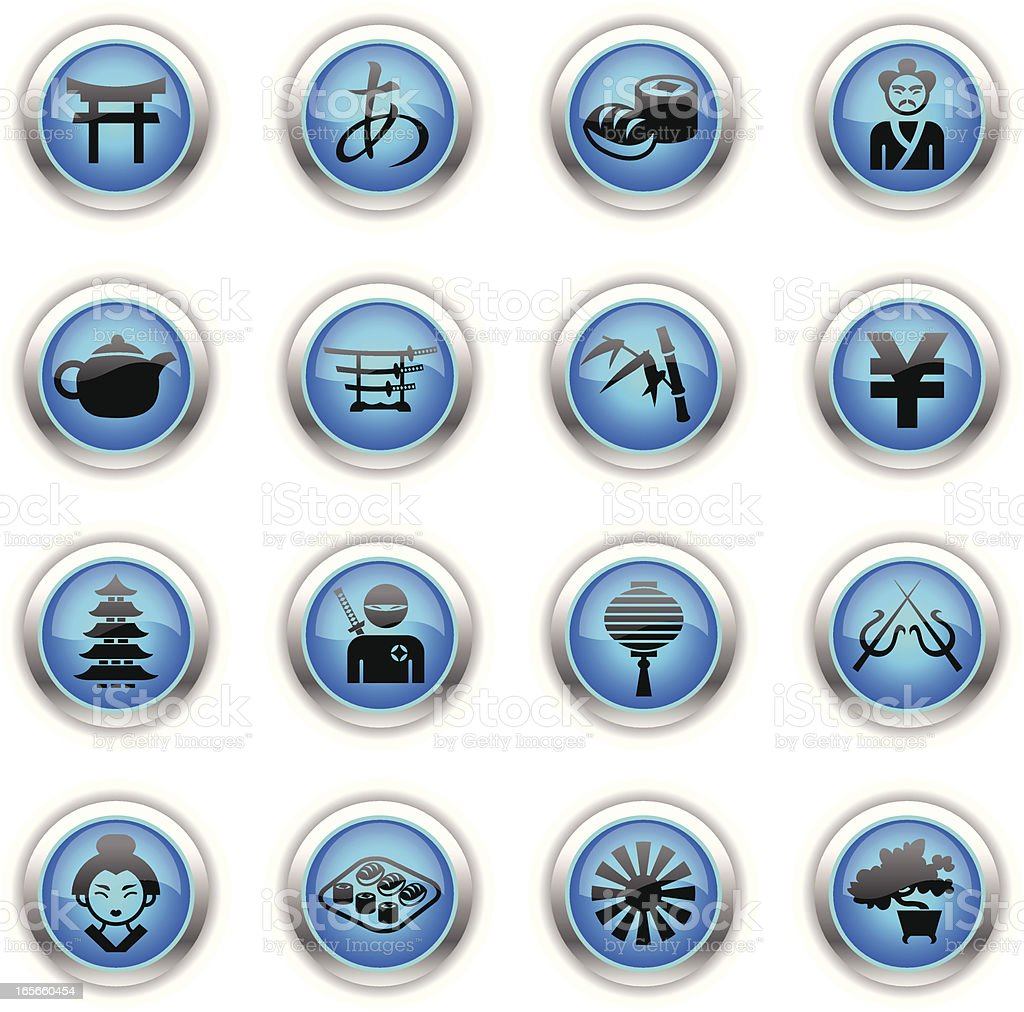 Blue Icons - Japan vector art illustration