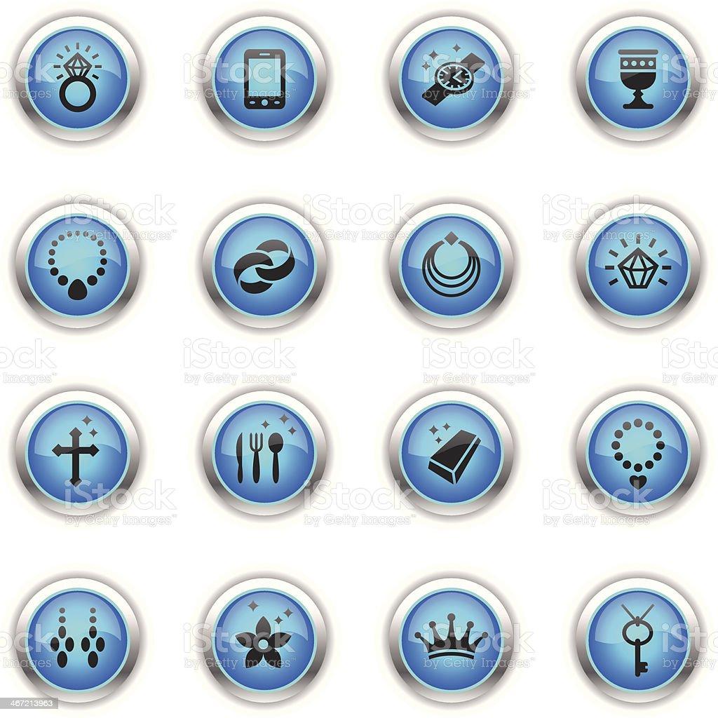 Blue Icons - Jewellery vector art illustration