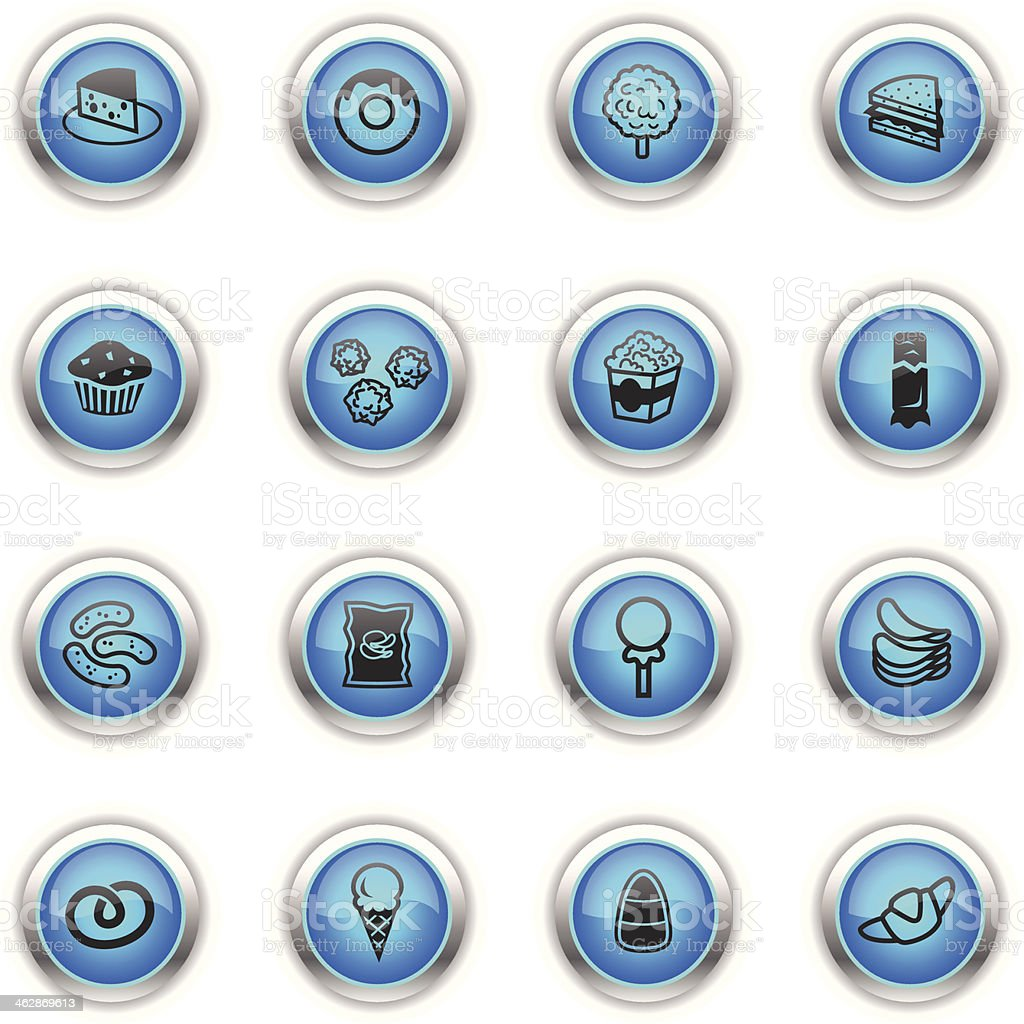 Blue Icons - Junk Food royalty-free stock vector art