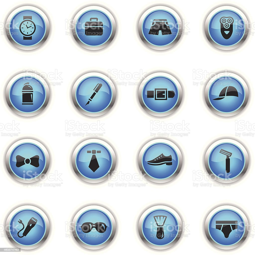 Blue Icons - Man's Accessories vector art illustration