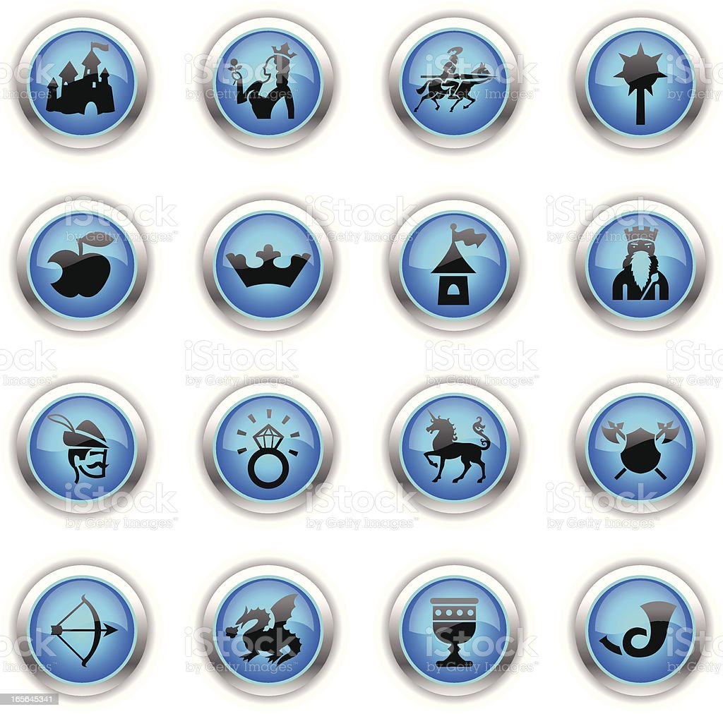 Blue Icons - Medieval Fairytale royalty-free stock vector art