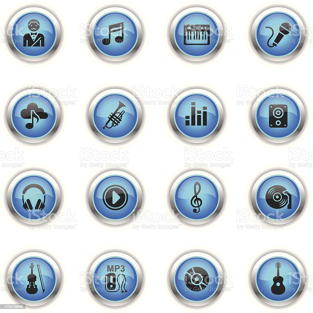 Blue Icons - Music vector art illustration
