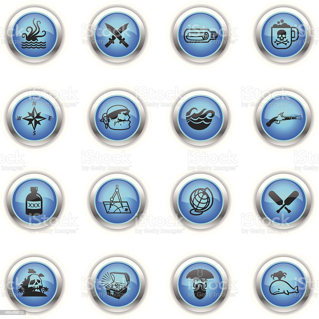 Blue Icons - Pirates royalty-free stock vector art