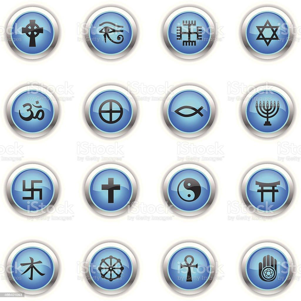 Blue Icons - Religious Symbols vector art illustration