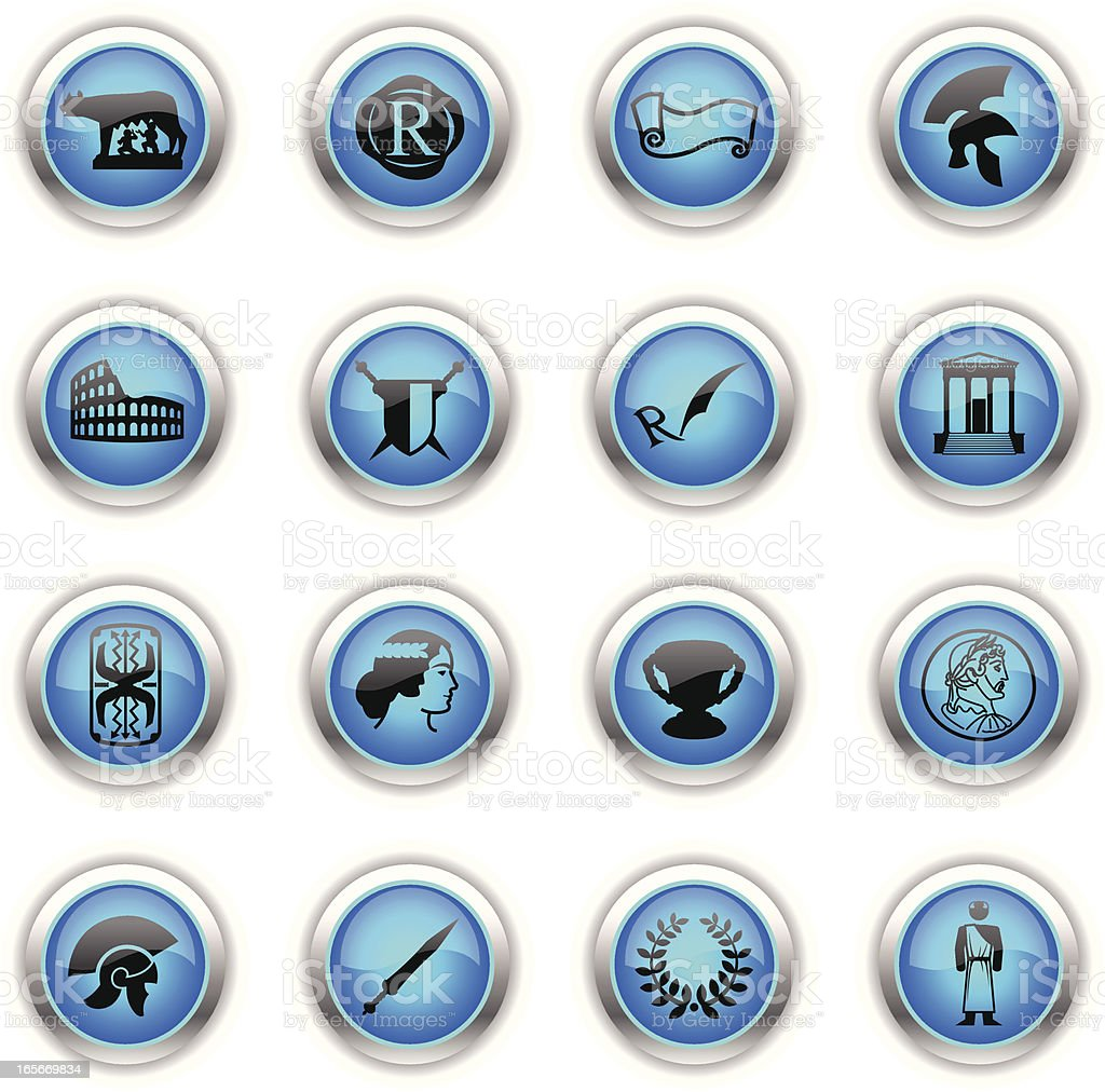 Blue Icons -  Roman Empire royalty-free stock vector art