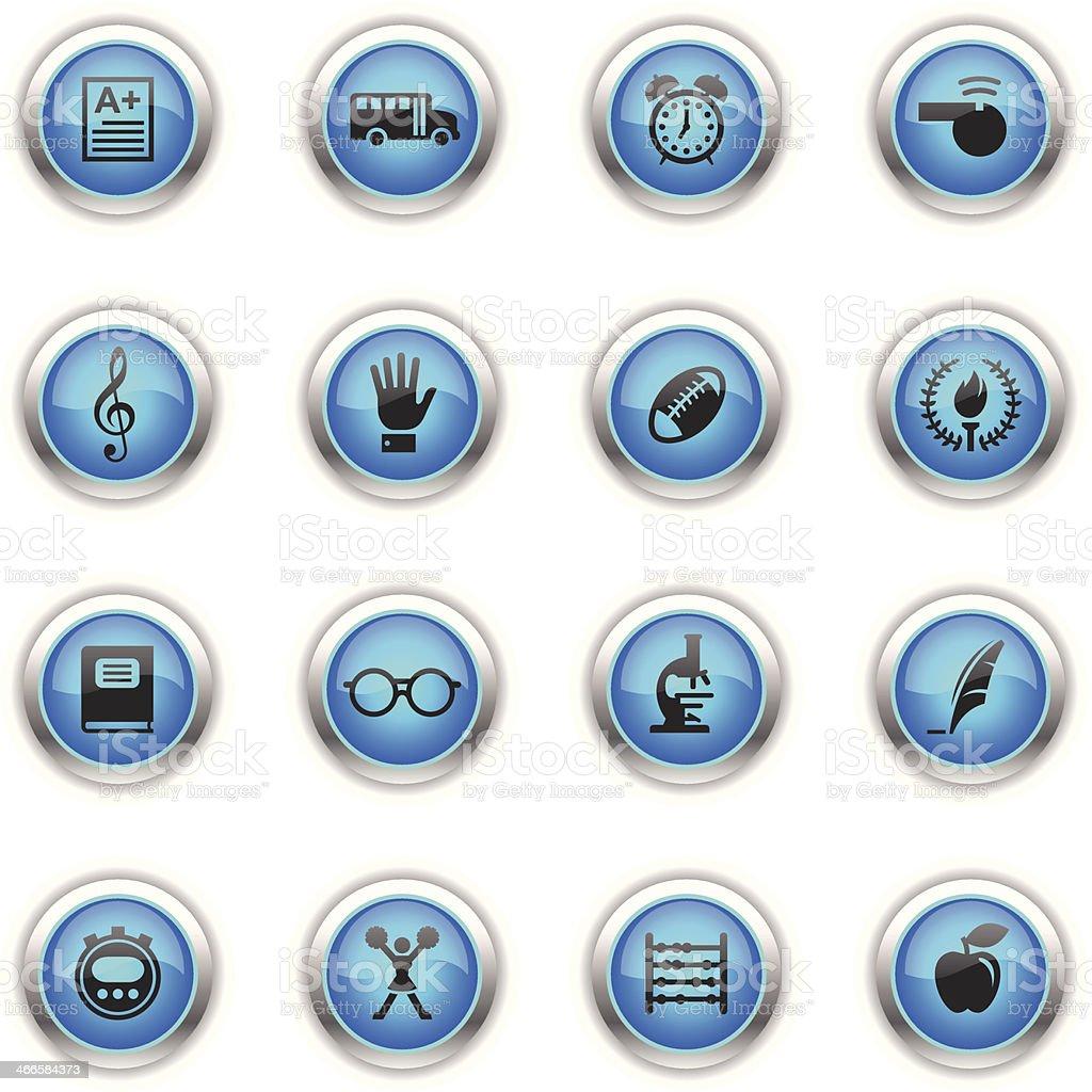 Blue Icons - School vector art illustration