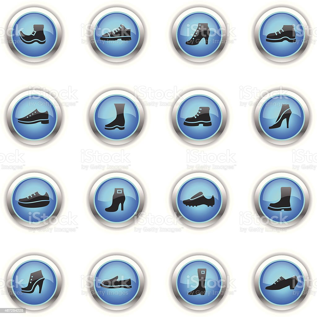 Blue Icons - Shoes vector art illustration