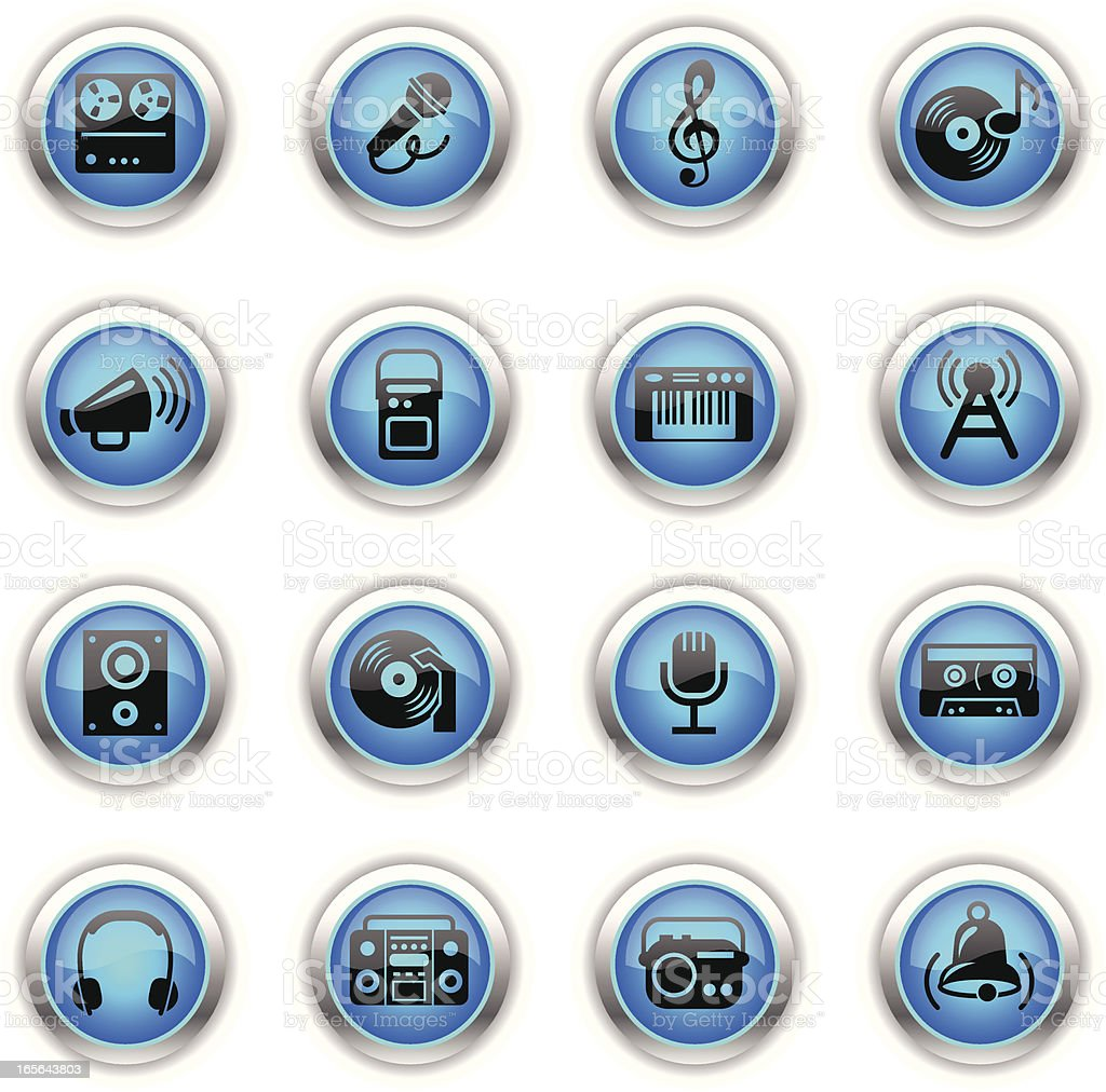 Blue Icons - Sound and Music vector art illustration