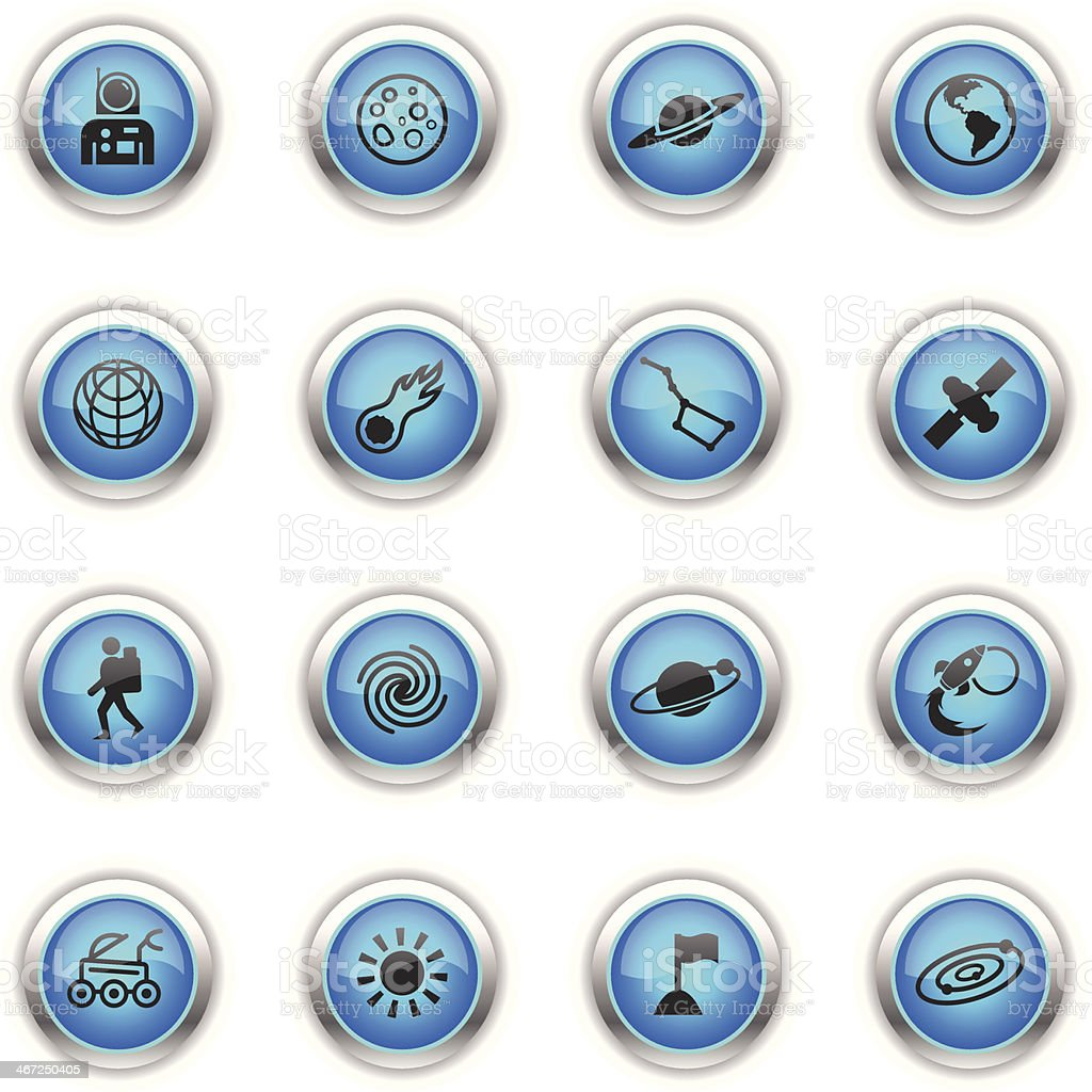 Blue Icons - Space royalty-free stock vector art