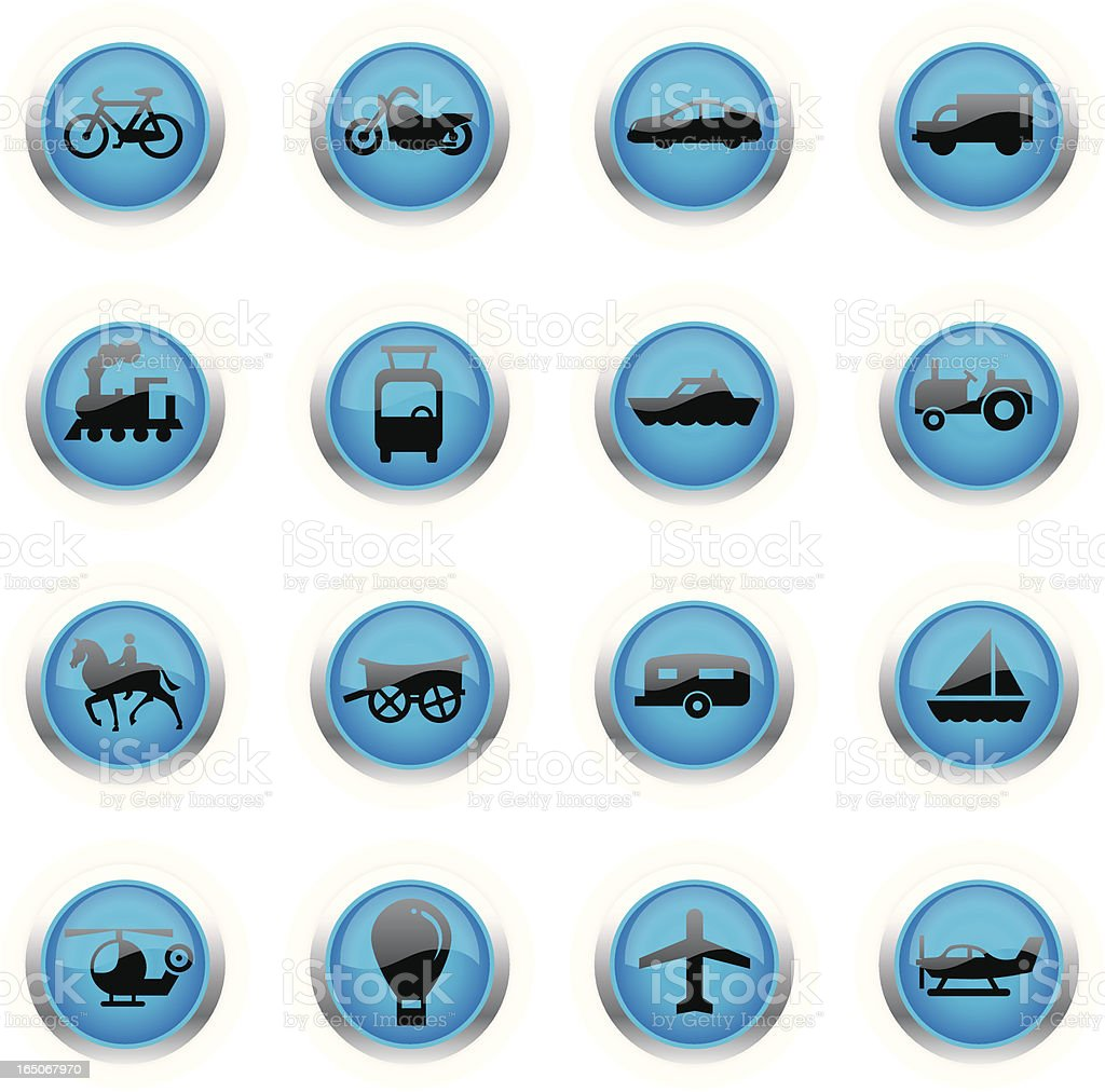Blue Icons - Transportation royalty-free stock vector art
