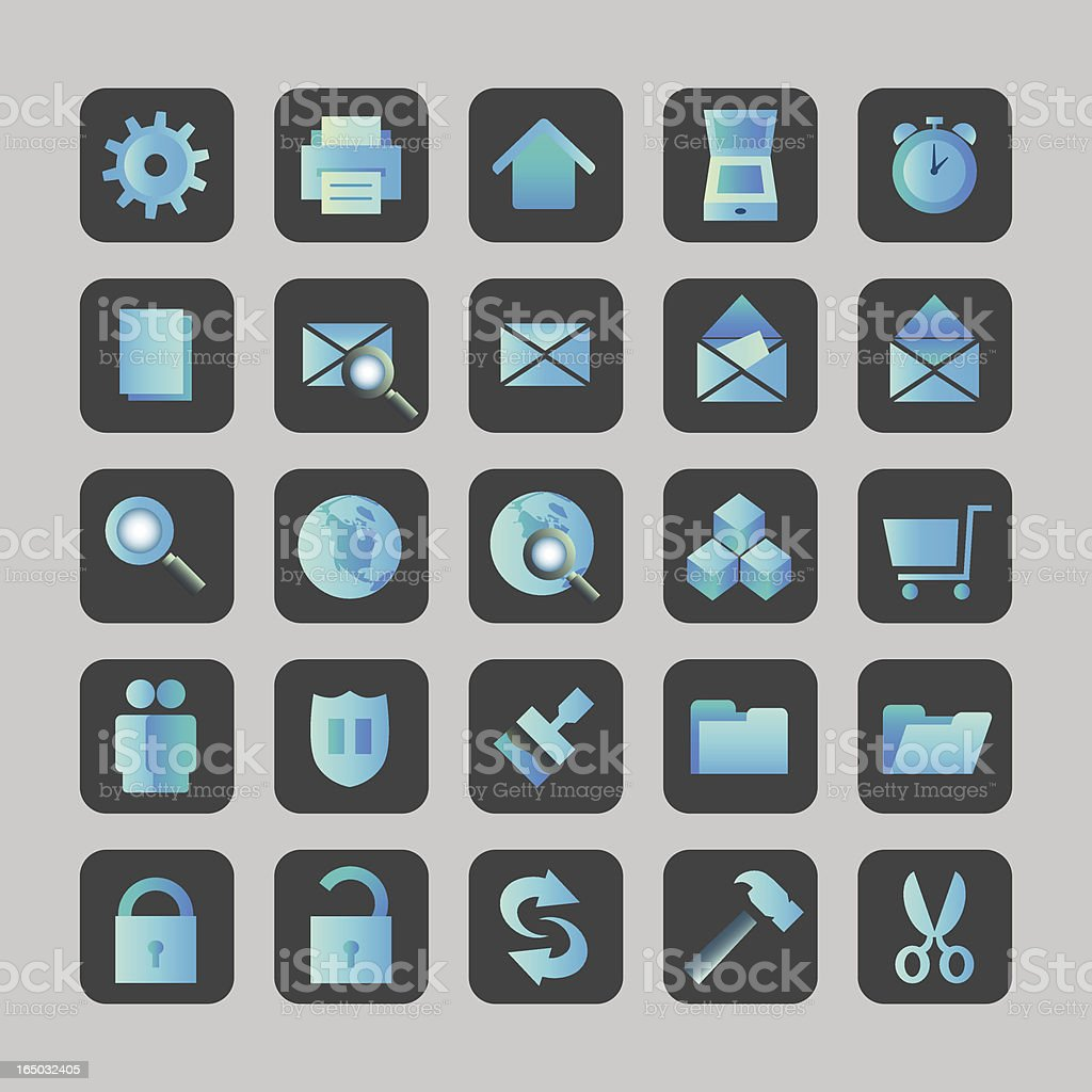 Blue Icons - vector royalty-free stock vector art