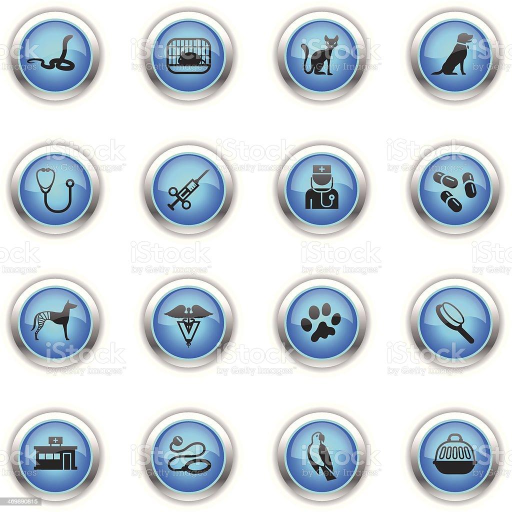 Blue Icons - Veterinary vector art illustration