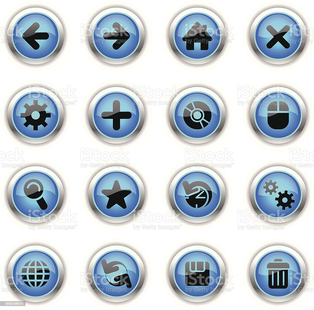 Blue Icons - Web vector art illustration