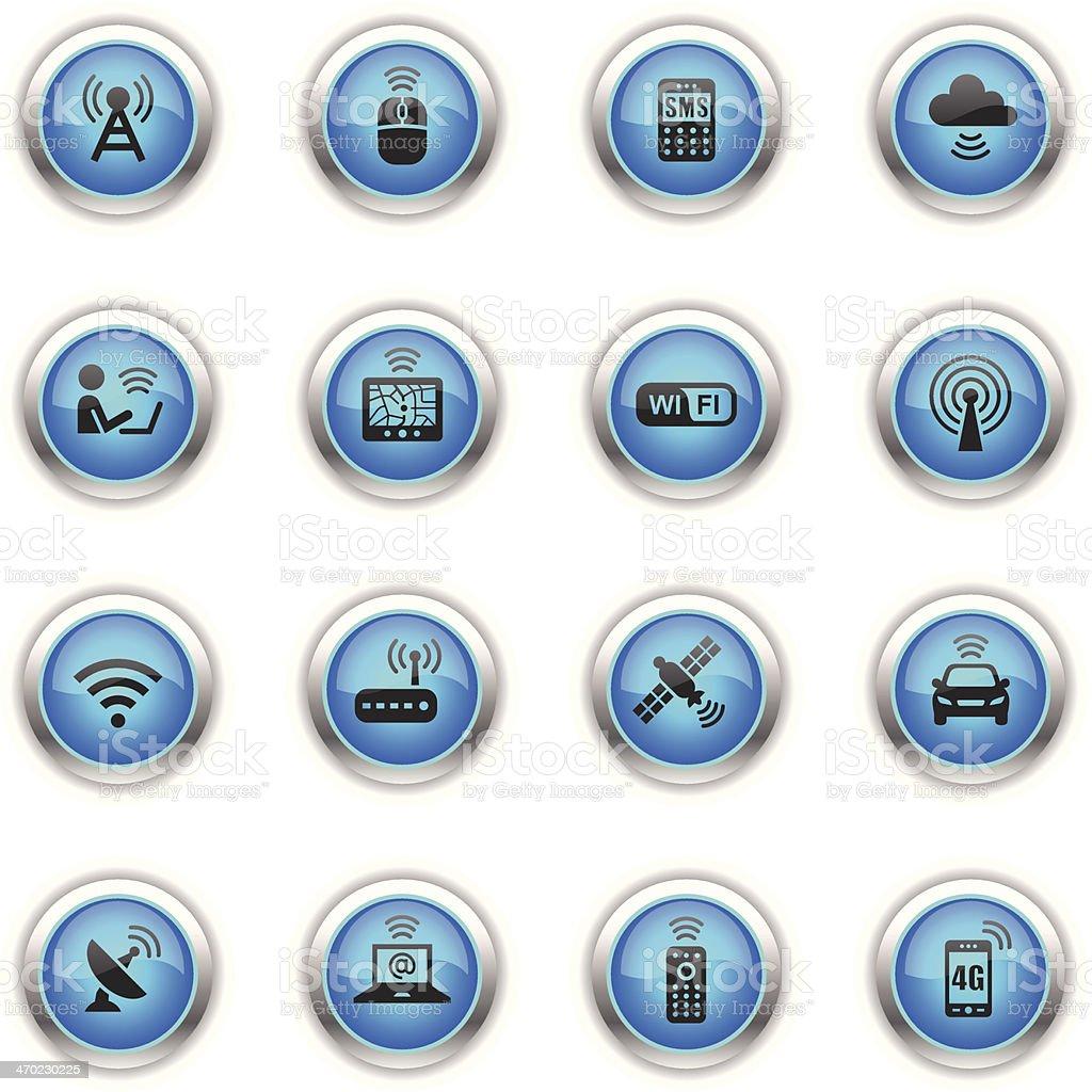 Blue Icons - Wireless Technology vector art illustration