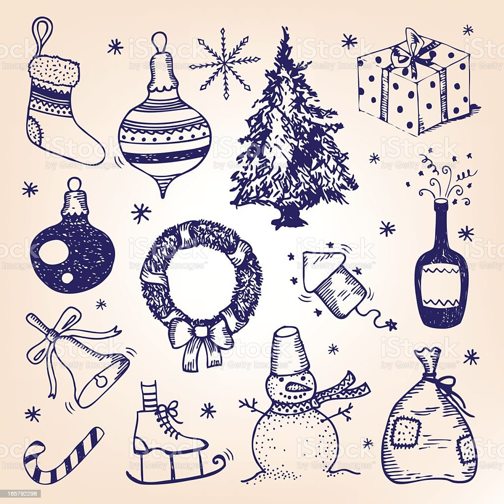Blue illustrated Christmas icons on off-white background royalty-free stock vector art
