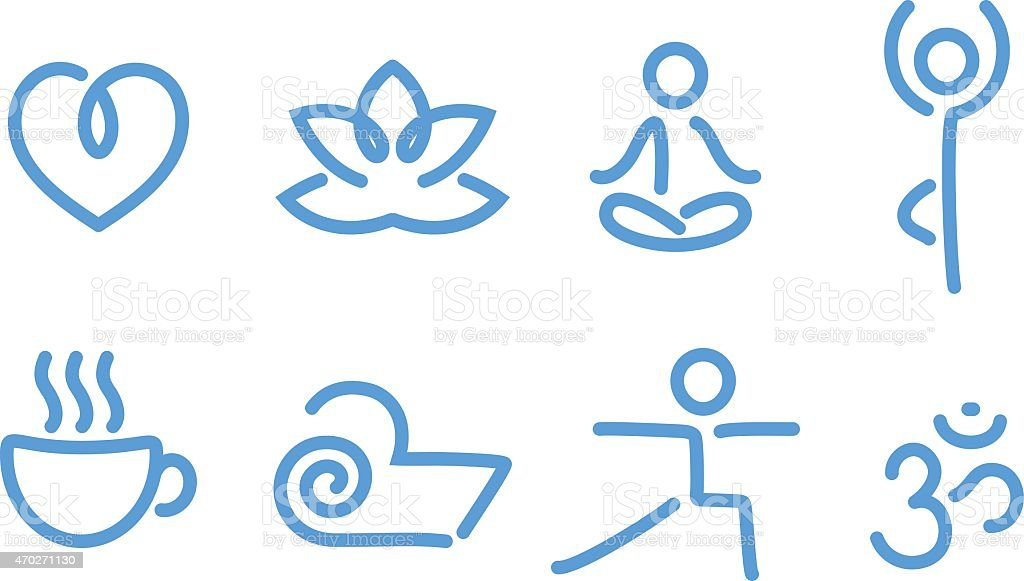 Blue illustrated yoga icons in a white background vector art illustration