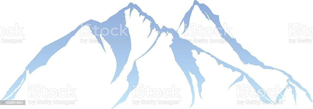 A blue illustration of a mountain range  royalty-free stock vector art