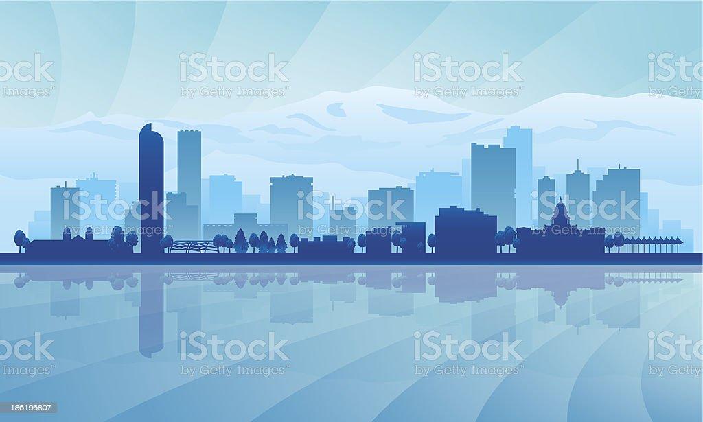 A blue illustration of Denver city skyline vector art illustration