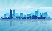 A blue illustration of Denver city skyline