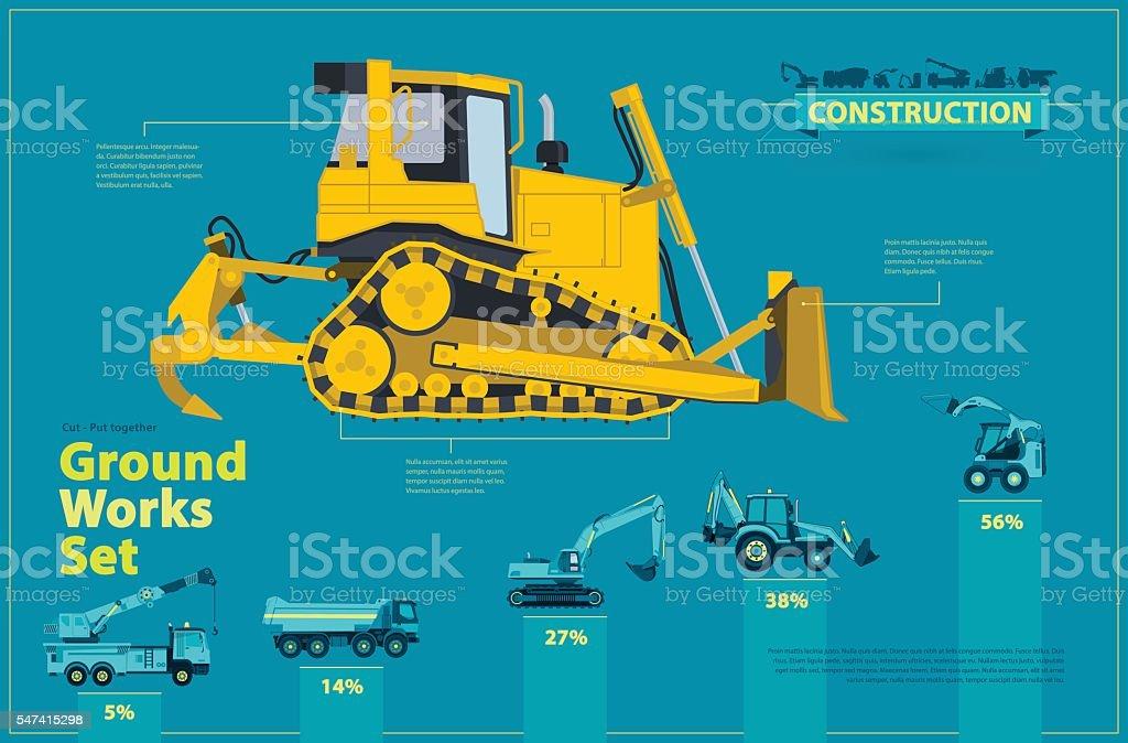 Blue infographic big set of ground works blue machines vehicles. vector art illustration
