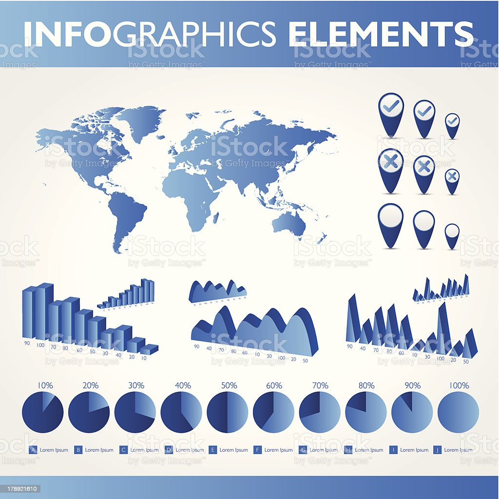 Blue infographic. Universal icons set royalty-free stock vector art