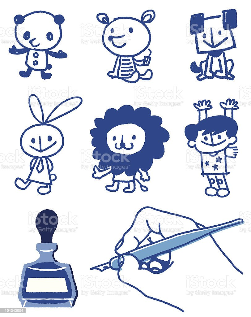 blue ink royalty-free stock vector art