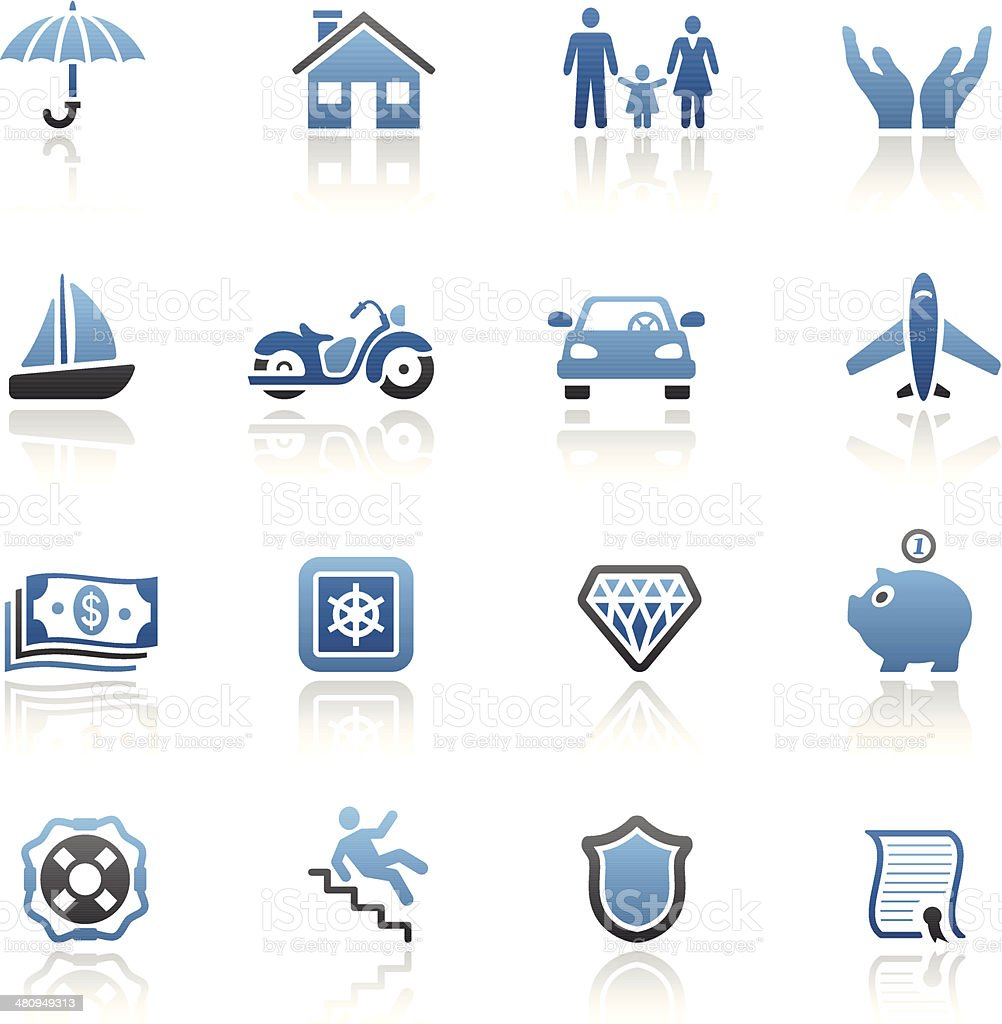 Blue Insurance Icon Set vector art illustration