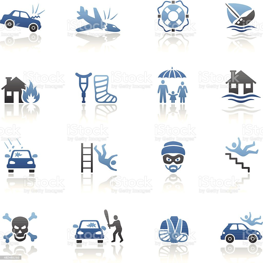 Blue Insurance Icon Set vector art illustration