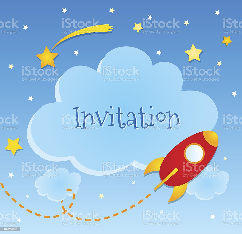 Blue invitation card with clouds and spaceship stickers. royalty-free stock vector art