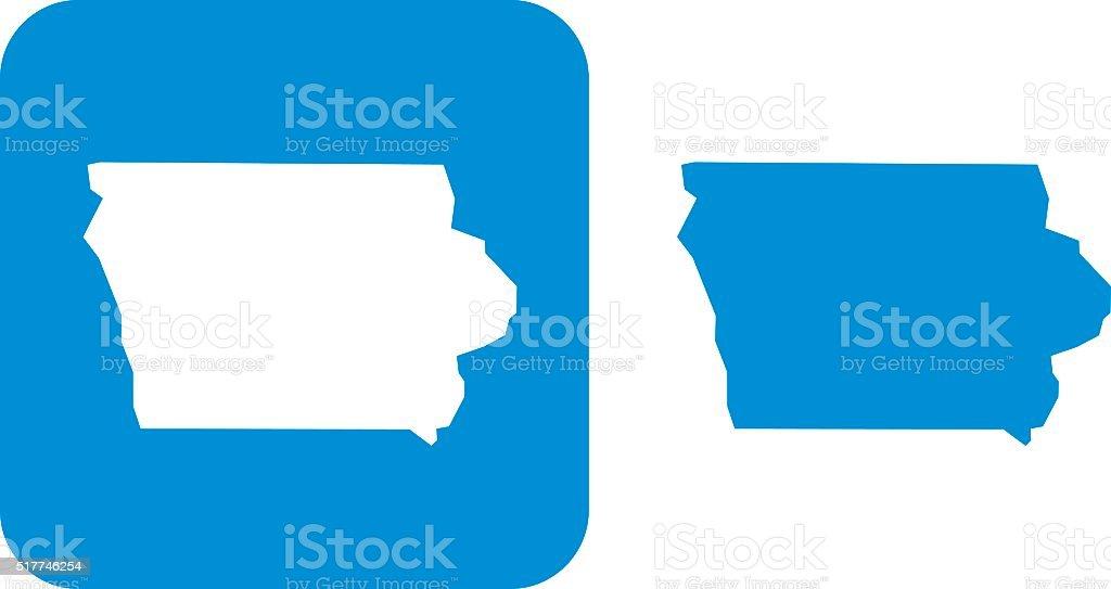 Blue Iowa Icons vector art illustration