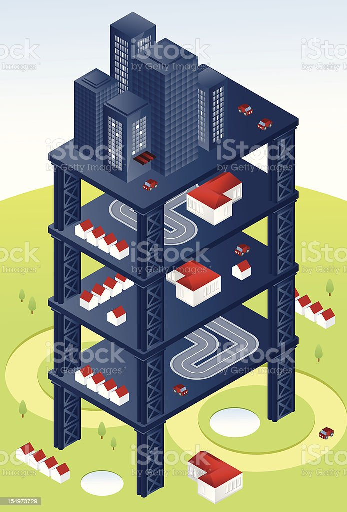 Blue isometric city tower royalty-free stock vector art