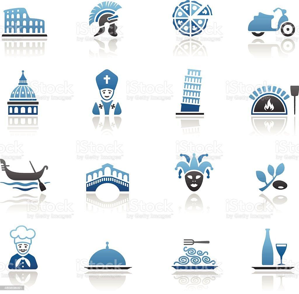 Blue Italian Culture Icon Set royalty-free stock vector art