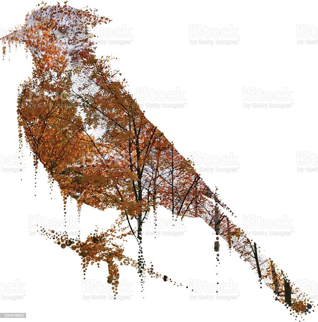 Blue Jay and trees vector art illustration