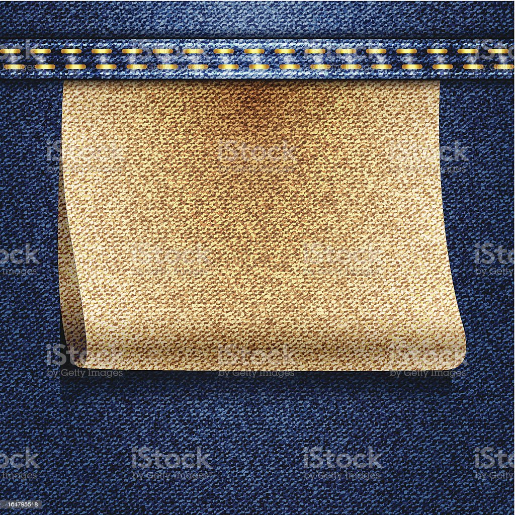 Blue jeans realistic denim texture with label royalty-free stock vector art