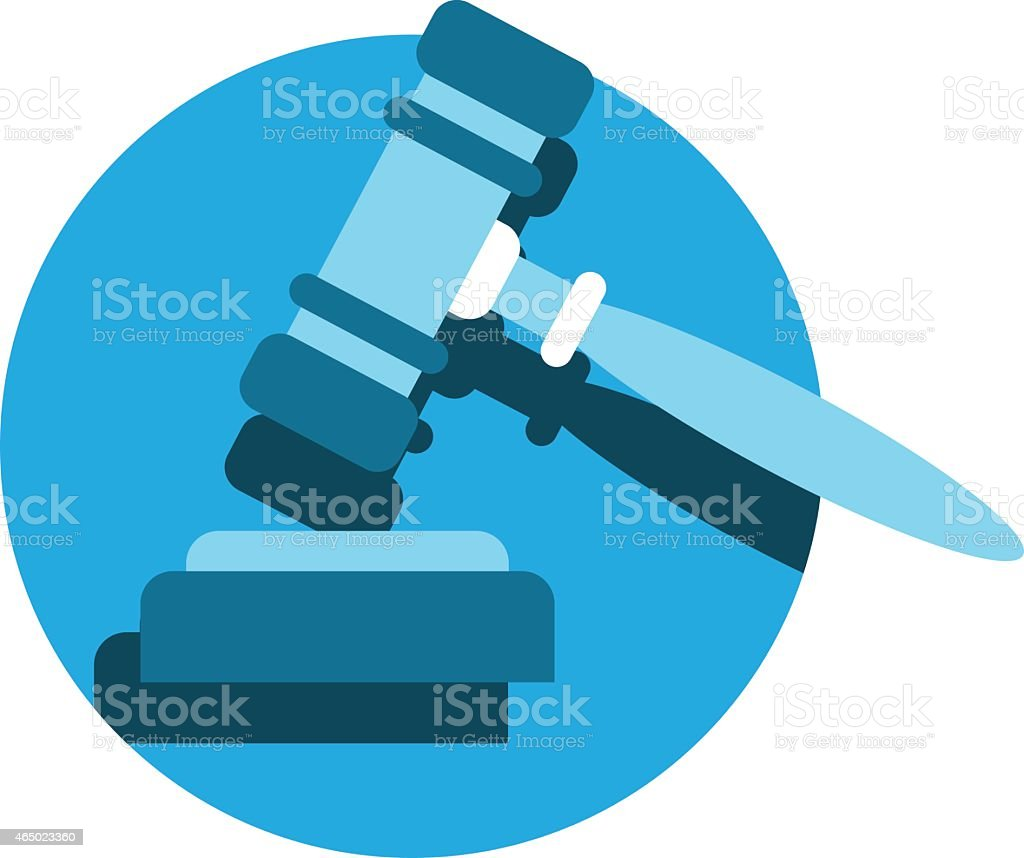 Blue judge's gavel or auction hammer icon isolated on white vector art illustration