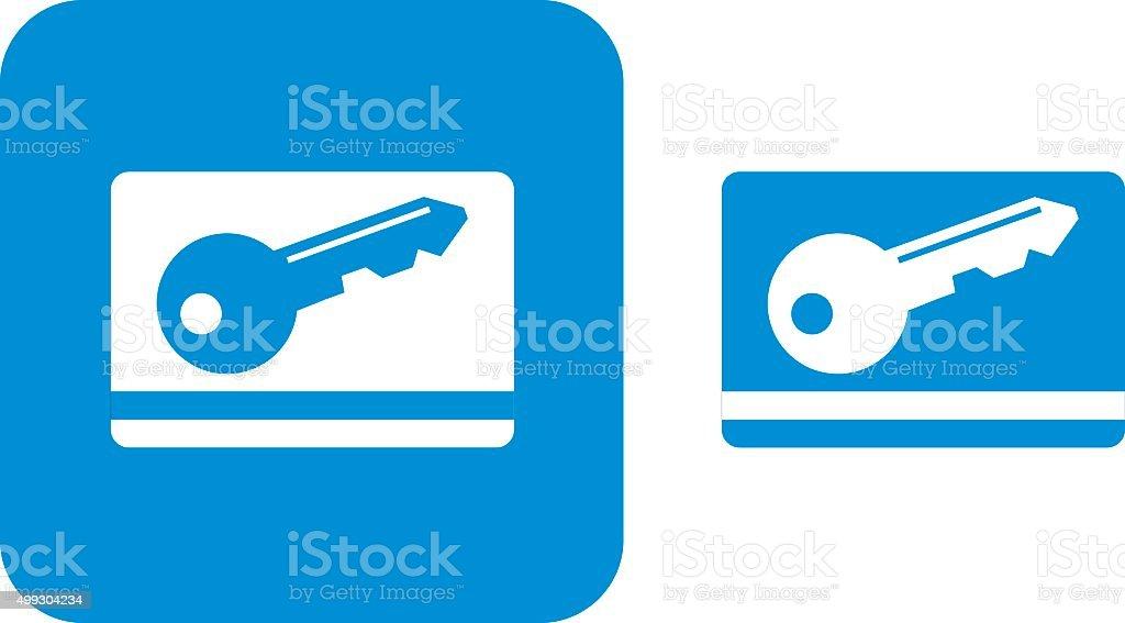 Blue Key Card Icons vector art illustration