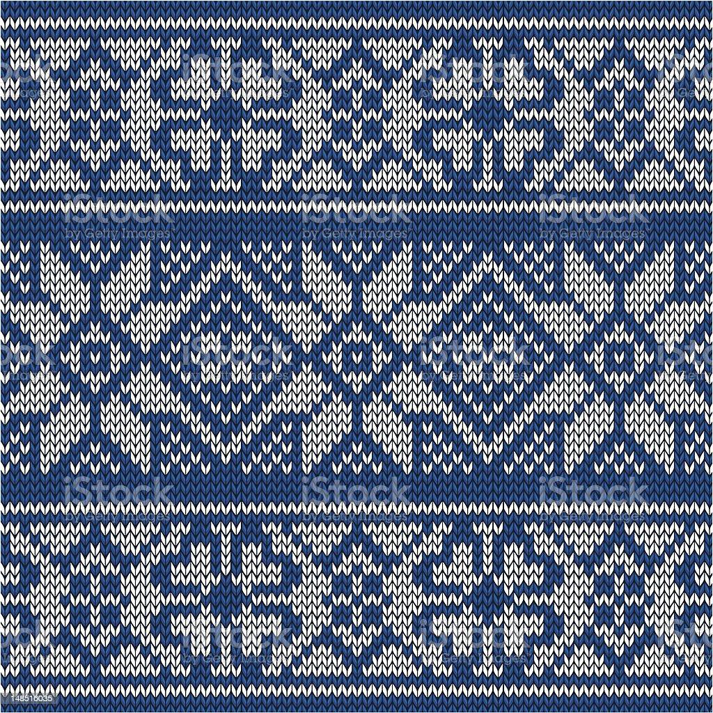 Blue knitted norwegian pattern royalty-free stock vector art