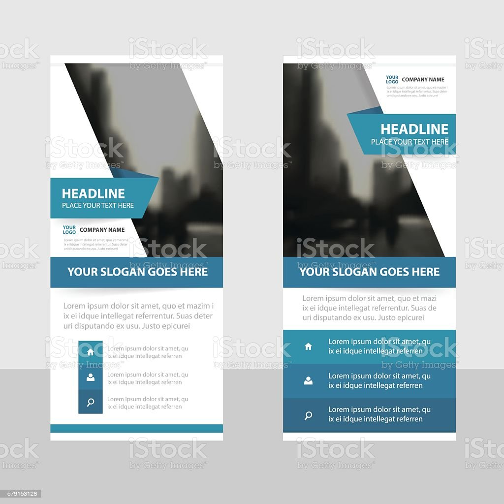 Blue label Business Roll Up Banner flat design template Abstract vector art illustration