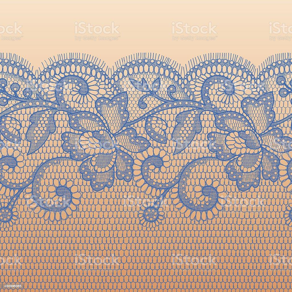 Blue Lace Horizontal seamless pattern. vector art illustration
