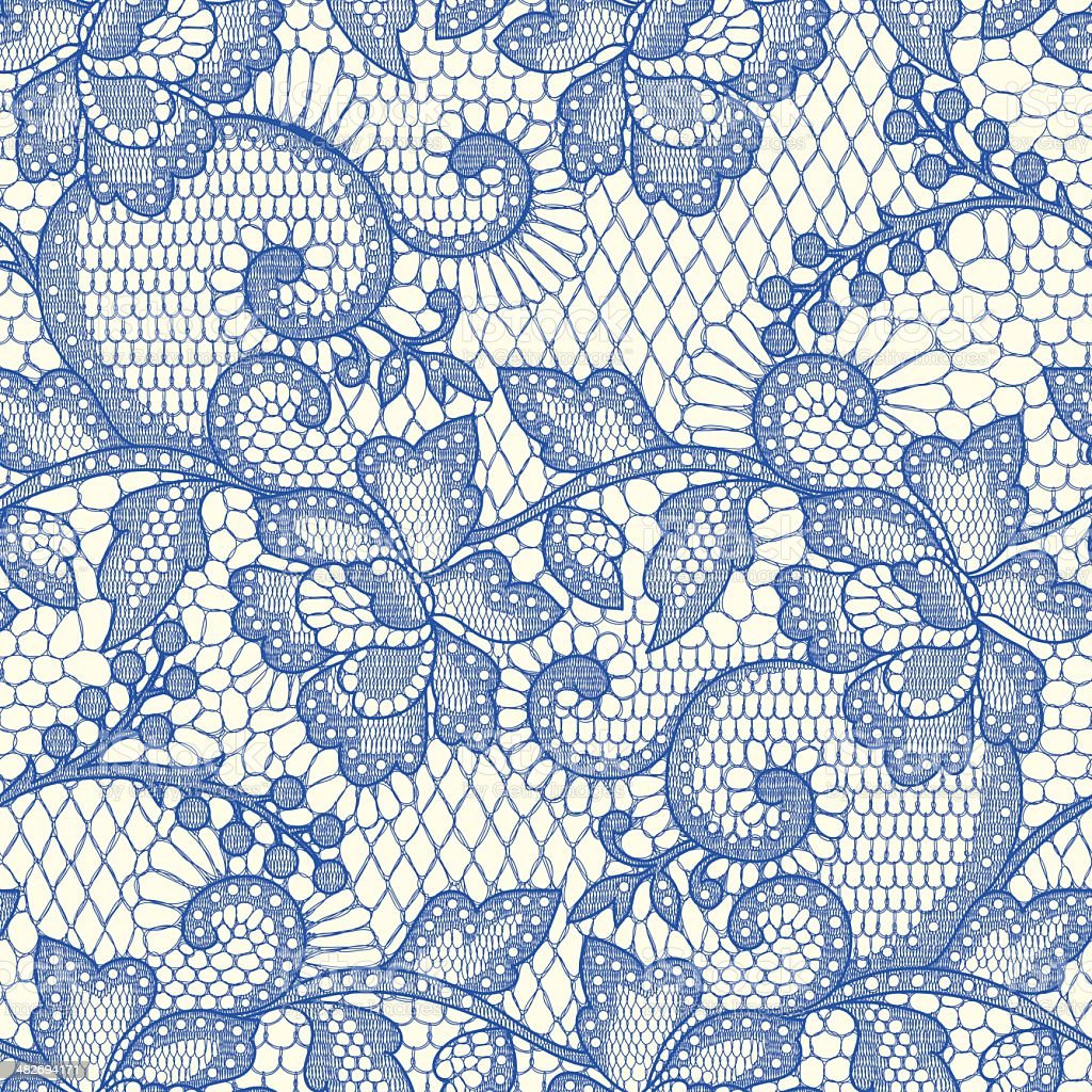 Blue Lace Seamless Pattern. vector art illustration
