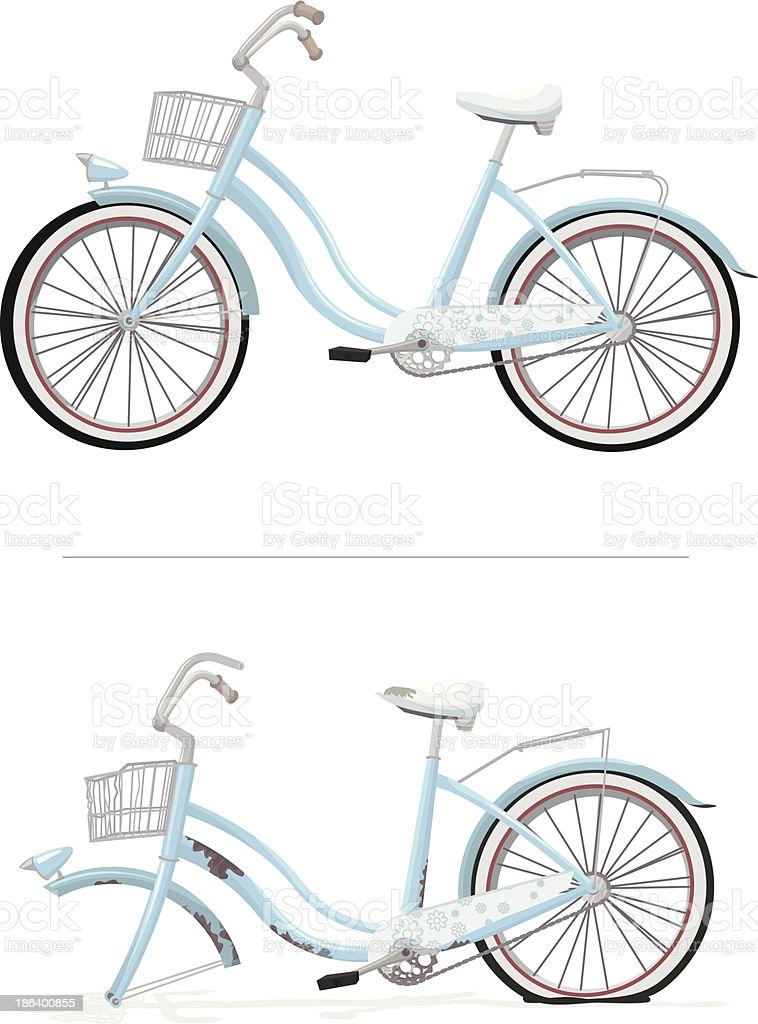 blue ladies bike new and old royalty-free stock vector art
