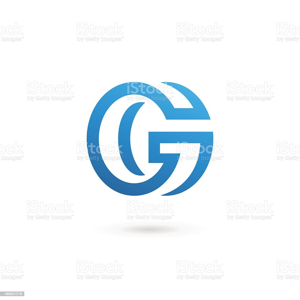 Blue letter G design template in white background vector art illustration