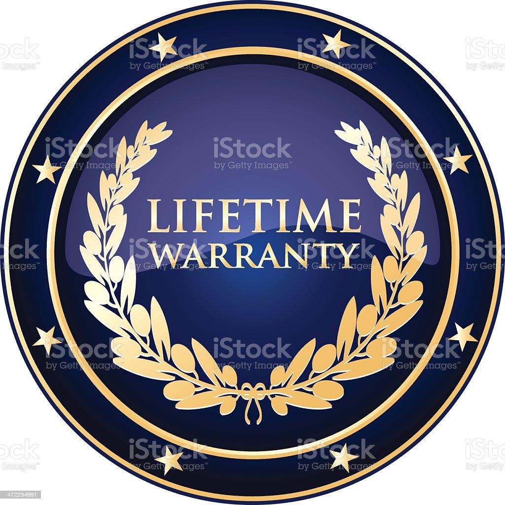 Blue Lifetime Warranty Shield vector art illustration